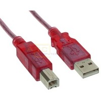 USB 2.0 Kabel A-St. -> B-St. 5m rot-transparent