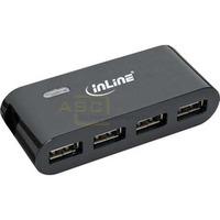 Mini USB 2.0 4-Port Hub, mit Netzteil, schwarz